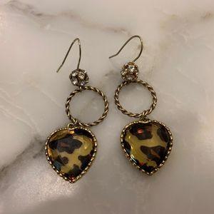 Betsey Johnson Leopard Drop Heart Earrings